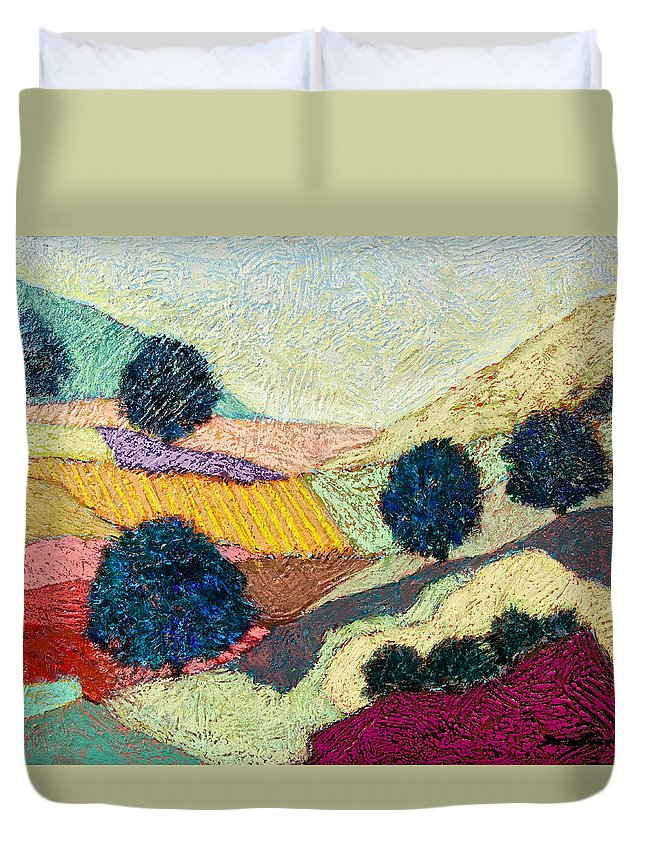 Landscape Duvet Cover featuring the painting Lost Valley by Allan P Friedlander