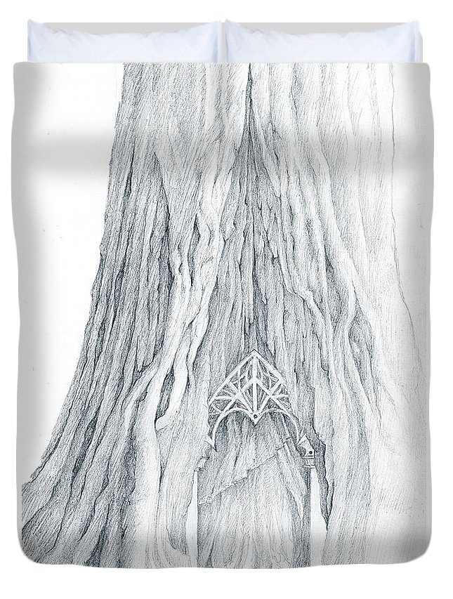 Lothlorien Duvet Cover featuring the drawing Lothlorien Mallorn Tree by Curtiss Shaffer