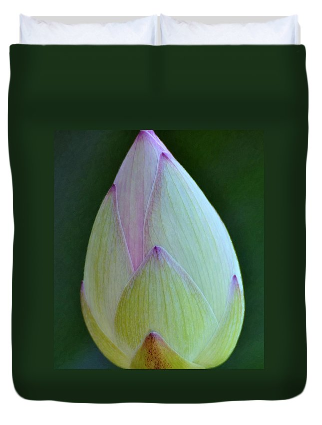 Lotus Duvet Cover featuring the photograph Lotus Blossom Against Green by Gregory Strong