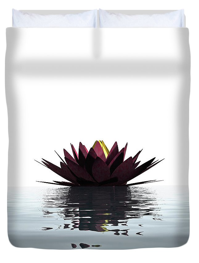 White Background Duvet Cover featuring the photograph Lotus Flower Floating On The Water by Artpartner-images
