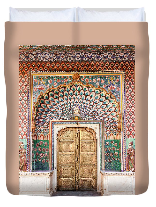 Arch Duvet Cover featuring the photograph Lotus Gate In Jaipur City Palace by Hakat