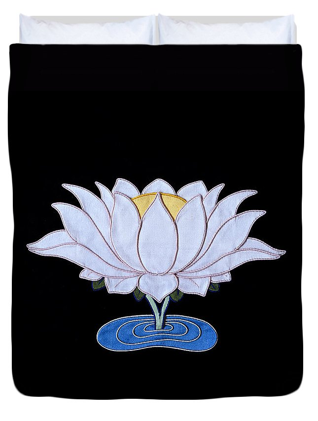 Lotusflower Duvet Cover featuring the tapestry - textile Lotus by Leslie Rinchen-Wongmo