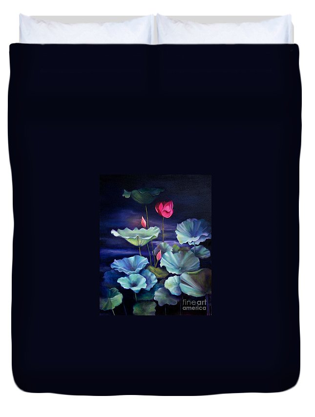 Still Life Duvet Cover featuring the painting Lotus On Dark Water by Marlene Book