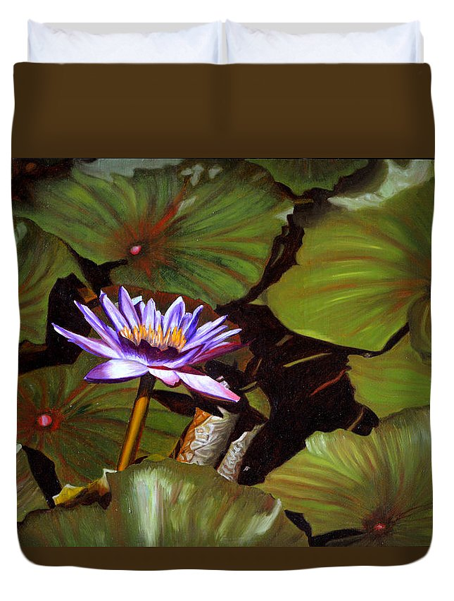 Lotus Duvet Cover featuring the painting Lotus One by Thu Nguyen
