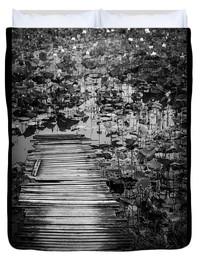 Burma Duvet Cover featuring the photograph Lotus Pond In Burma by Joshua Van Lare