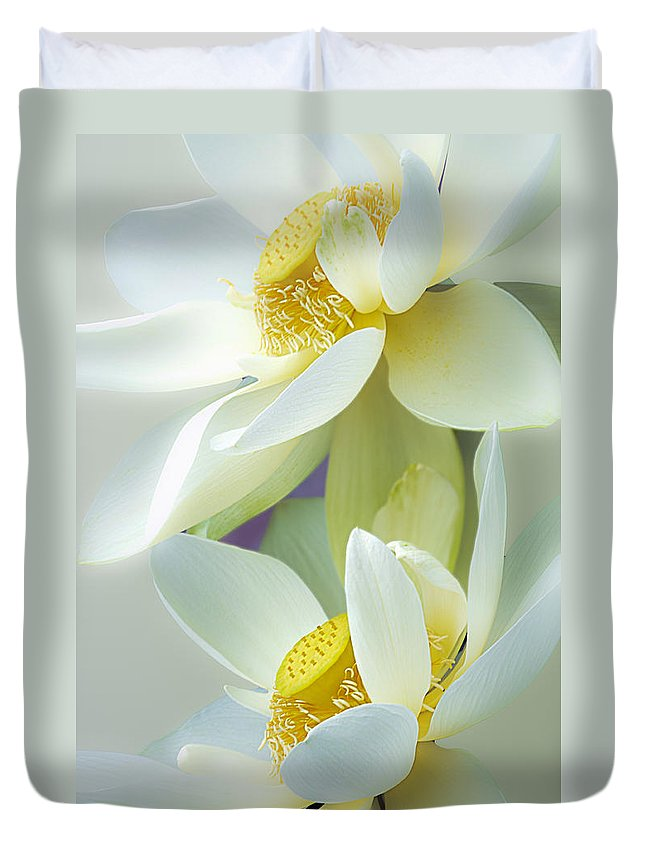 Lotus Duvet Cover featuring the photograph Lotuses In Bloom by Julie Palencia