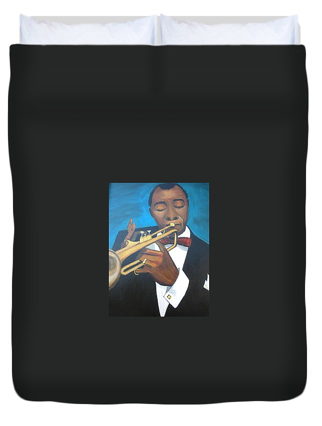 Louis Armstrong Portrait Duvet Cover featuring the painting Louis Armstrong by Don Parker