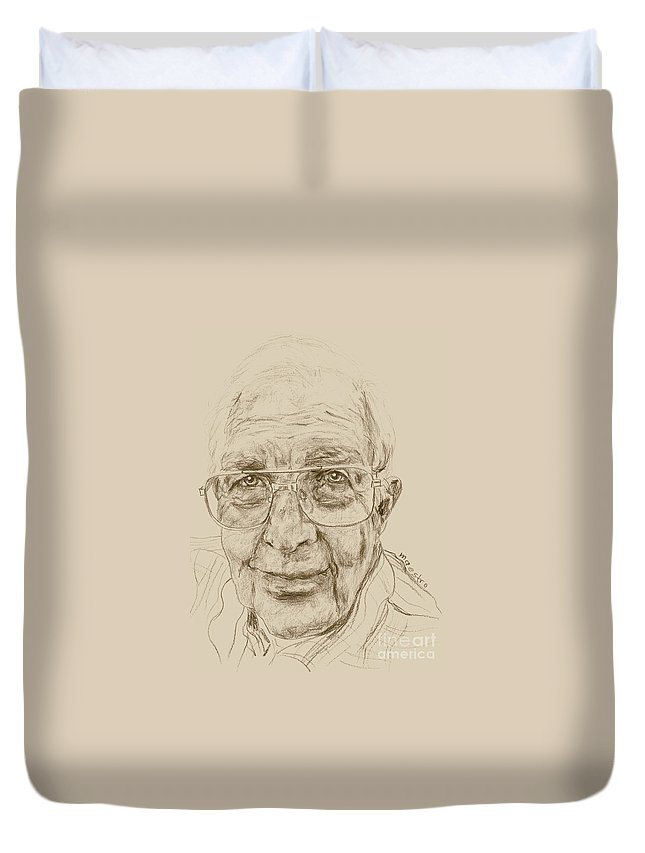 Memory Care Duvet Cover featuring the drawing Louis by PainterArtist FIN