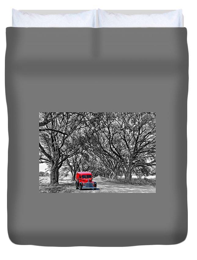 American Duvet Cover featuring the photograph Louisiana Dream Drive Bw by Steve Harrington