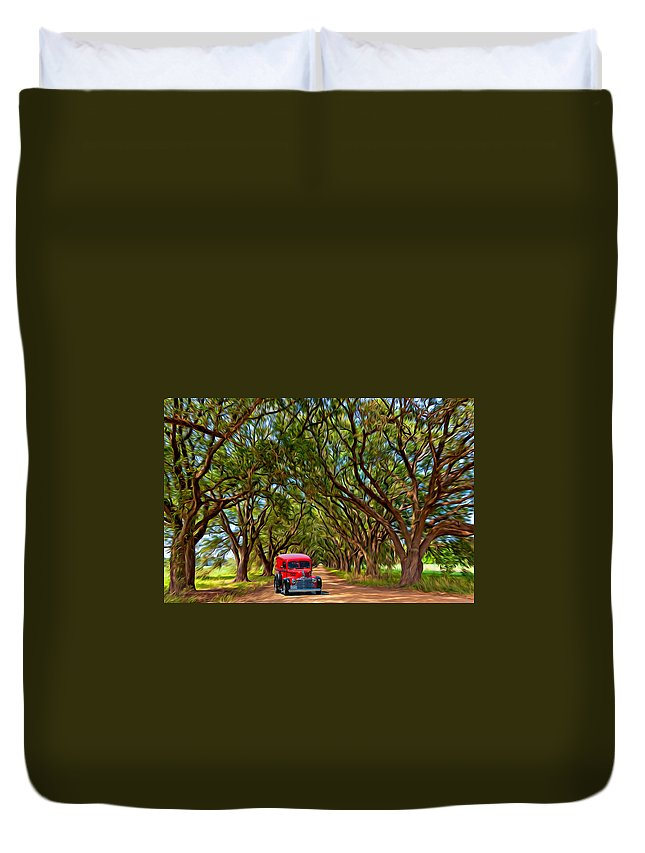 American Duvet Cover featuring the photograph Louisiana Dream Drive by Steve Harrington
