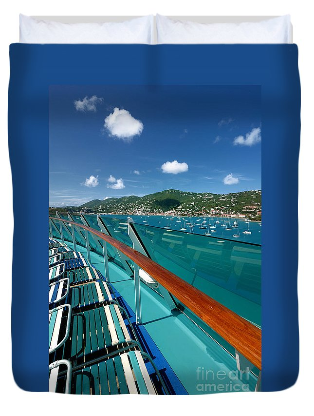 Adventure Of The Seas Duvet Cover featuring the photograph Lounge Chairs On Cruise Ship by Amy Cicconi
