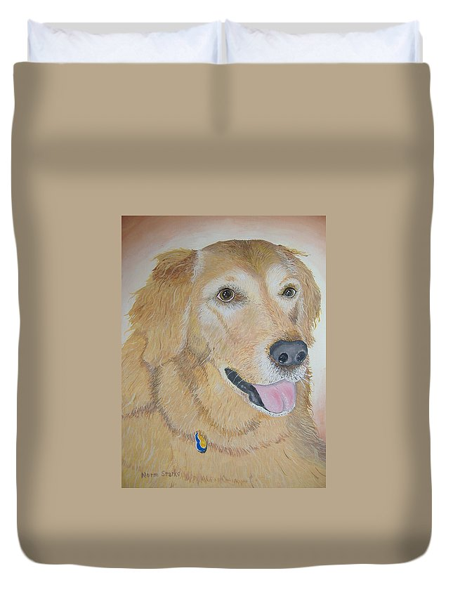 Pet Portrait Duvet Cover featuring the painting Love And Devotion by Norm Starks