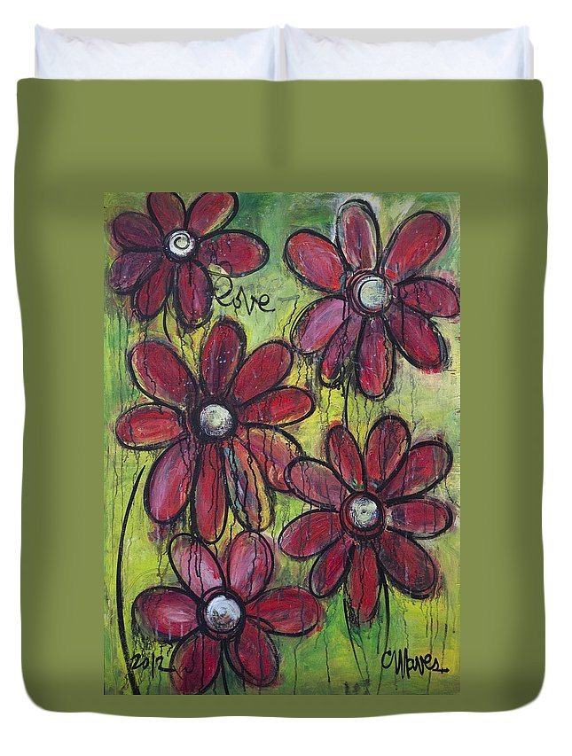 Daisies Duvet Cover featuring the painting Love For Five Daisies by Laurie Maves ART