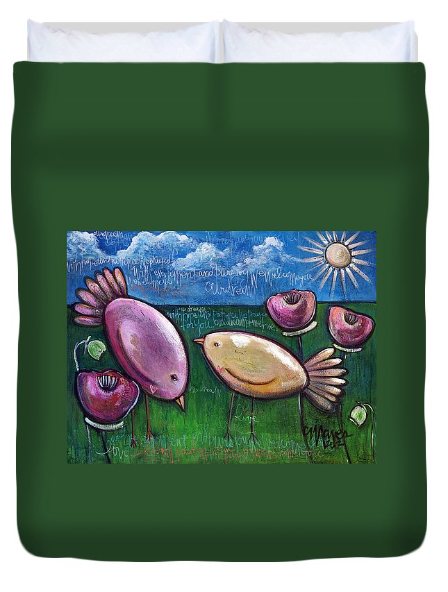 Birds Duvet Cover featuring the painting Love For Little Birds by Laurie Maves ART