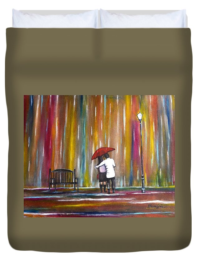 Romance Duvet Cover featuring the photograph Love In The Rain by Manjiri Kanvinde