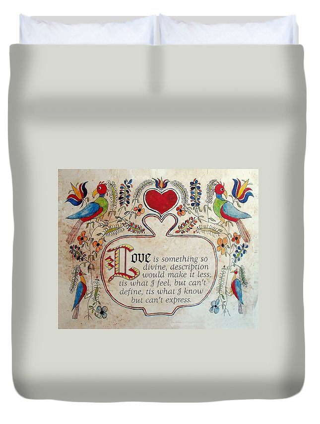 Valentine Duvet Cover featuring the painting Love Is by Joan Shaver