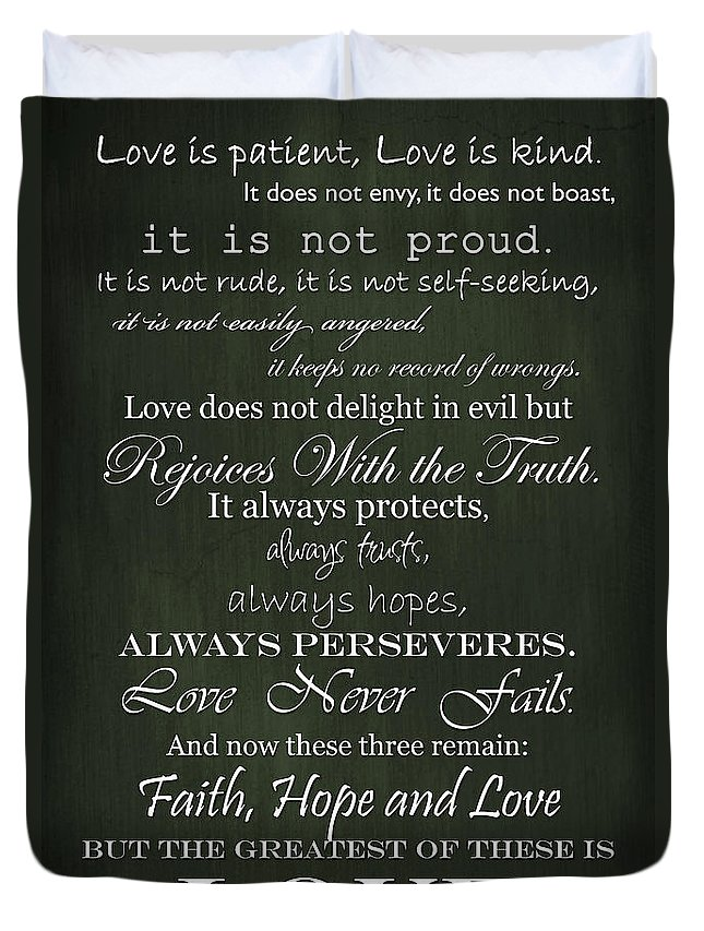 Religious Quote Duvet Cover featuring the digital art Love Is Patient Green by Inspired Arts