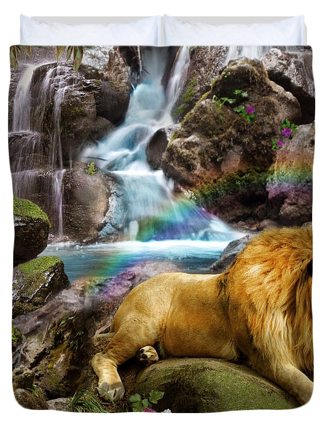 Lion Duvet Cover featuring the digital art Love Lion Waterfall by Alixandra Mullins