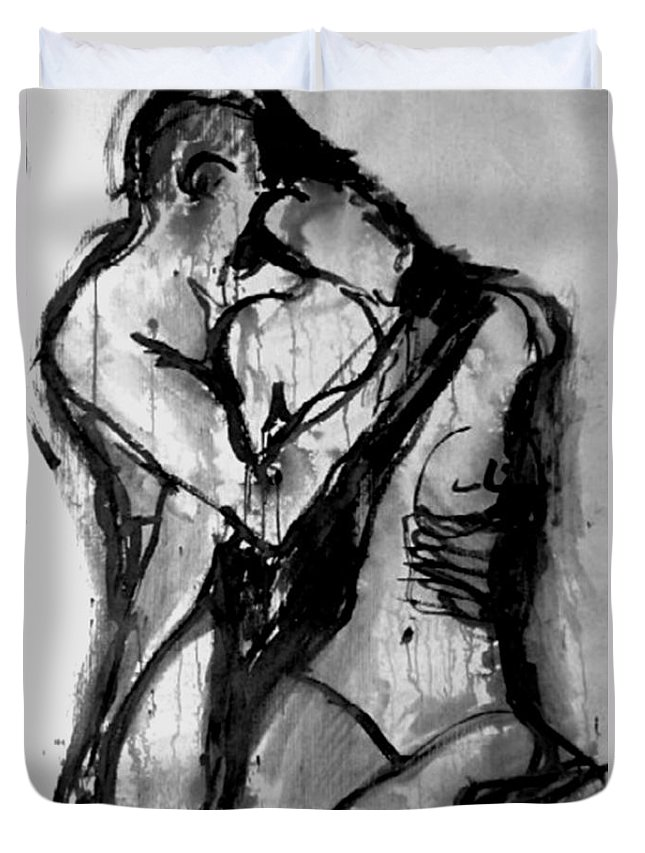 Couple Duvet Cover featuring the painting Love Me Tender by Jarmo Korhonen aka Jarko