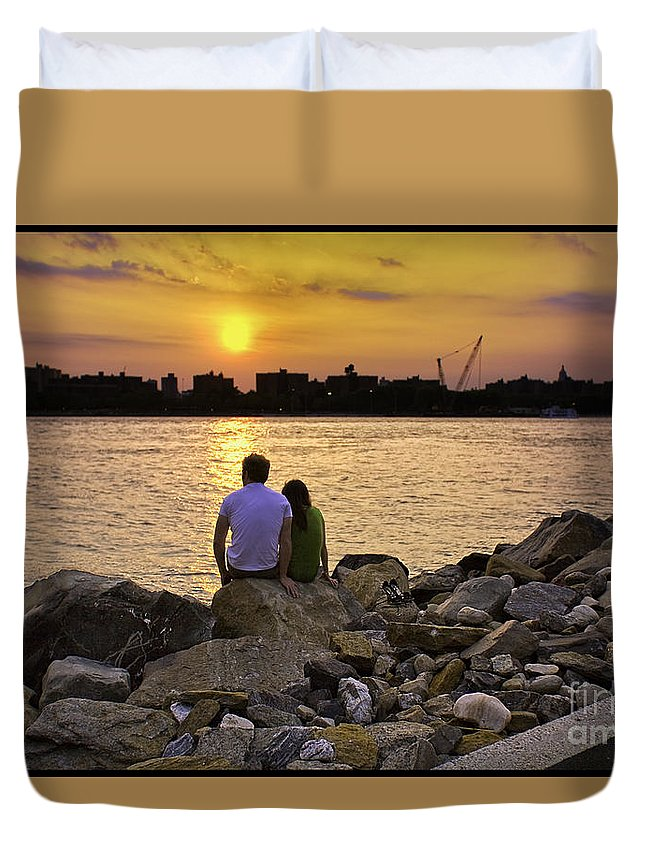Man Duvet Cover featuring the photograph Love On The Rocks In Brooklyn by Madeline Ellis