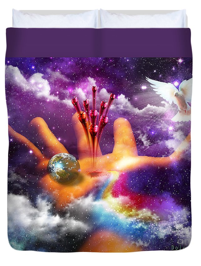 Jesus John 3 16 Duvet Cover featuring the digital art Love Poured Out by Dolores Develde