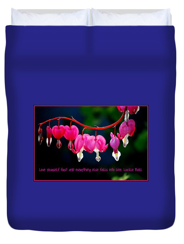Bleeding Heart Duvet Cover featuring the photograph Love Quote by Kathy Sampson