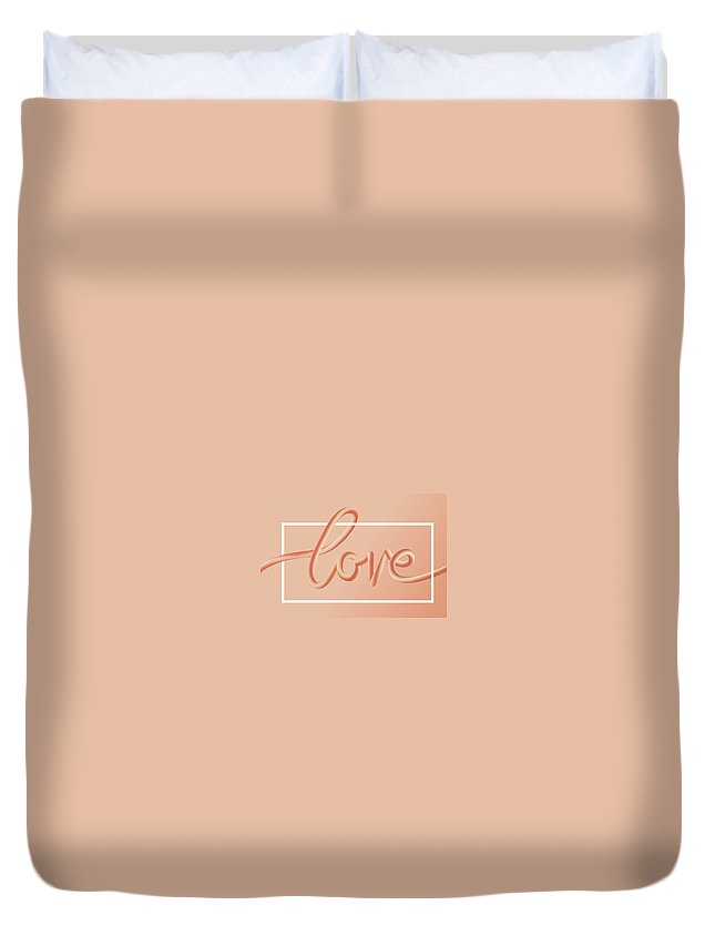 Home Decor Duvet Cover featuring the digital art Love Text Lettering In Red Color by Apagafonova