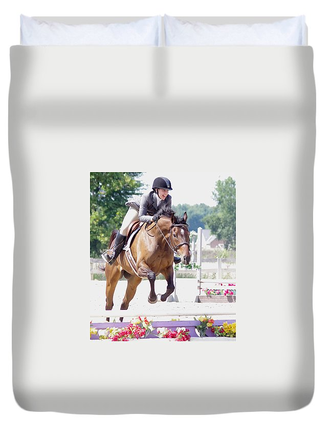 Horse Duvet Cover featuring the photograph Love What You Do by Jenny Gandert