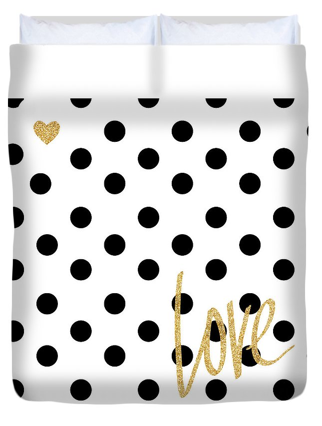 Love Duvet Cover featuring the digital art Love With Dots by South Social Studio