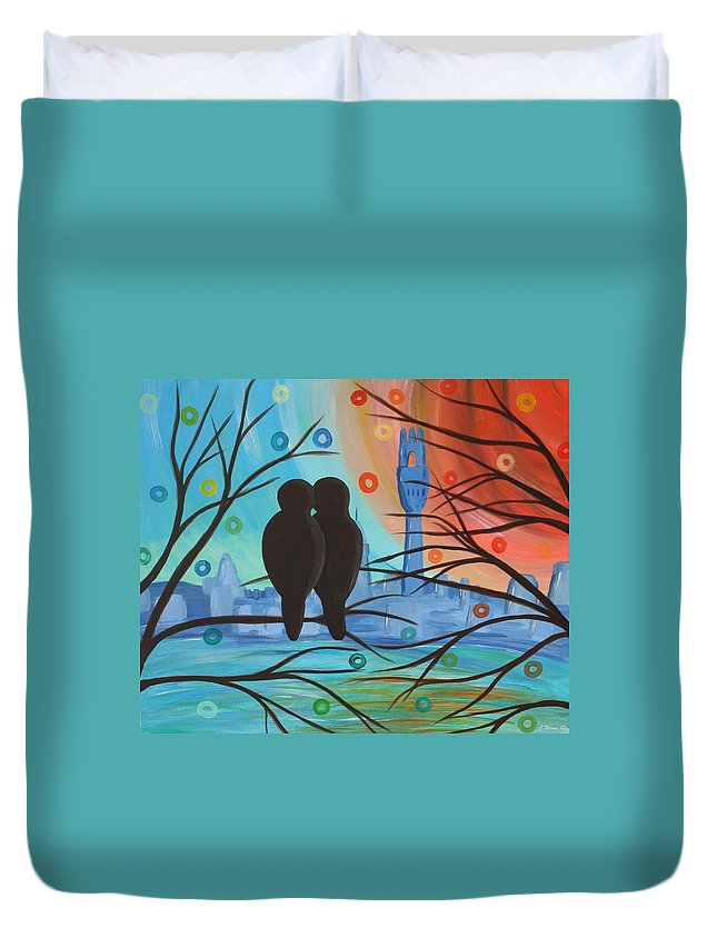 Lovebirds Duvet Cover featuring the mixed media Lovebirds In P-town by Catherine Harms