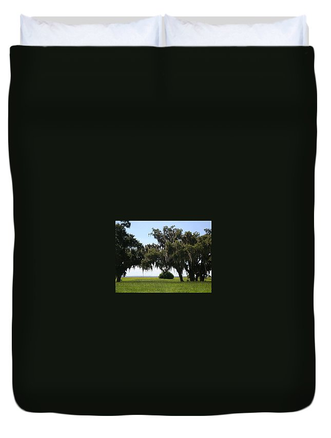 Mature Trees Duvet Cover featuring the photograph Lovely Landscape by Kim Chernecky