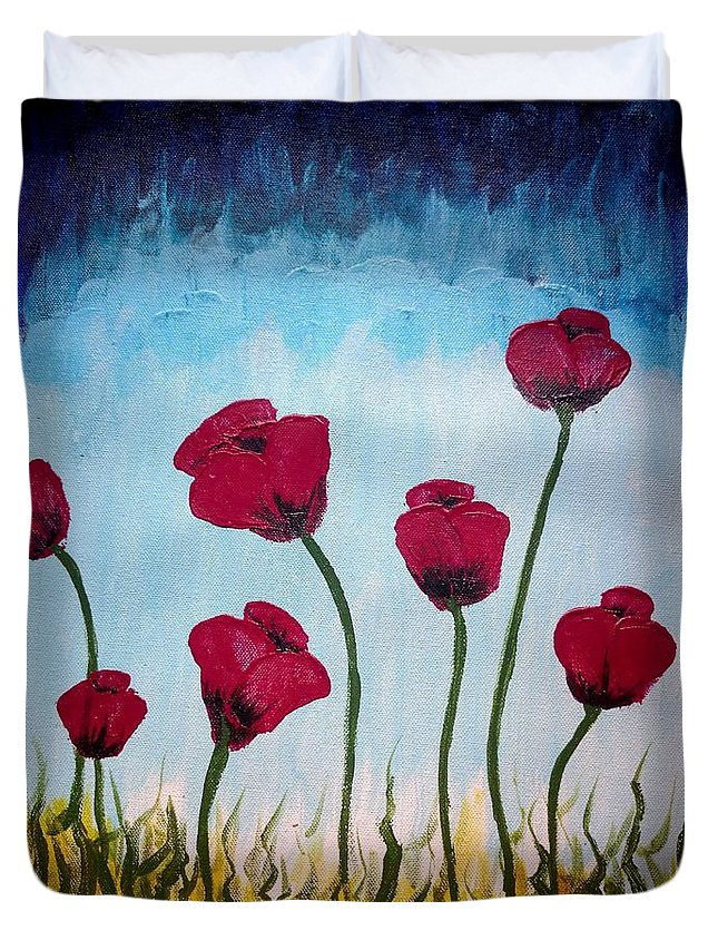 Poppies Duvet Cover featuring the painting Lovely Poppies by KarishmaticArt -Karishma Desai