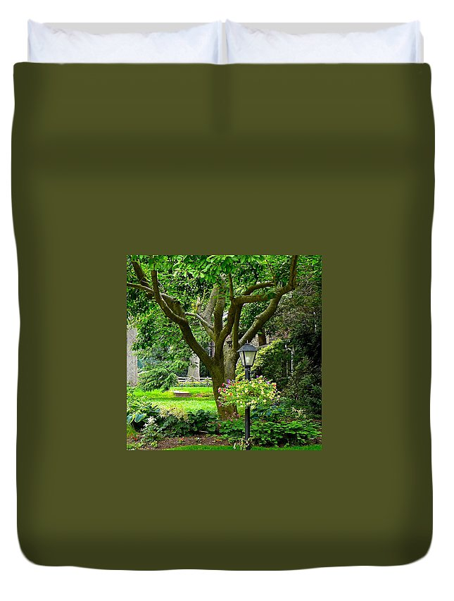Front Yard With Magnolia Tree Duvet Cover featuring the photograph Lovely Suburban Front Yard by Byron Varvarigos
