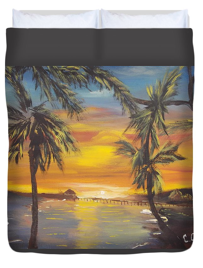 Paradise Duvet Cover featuring the painting Lovers Lane by Calvin Ott