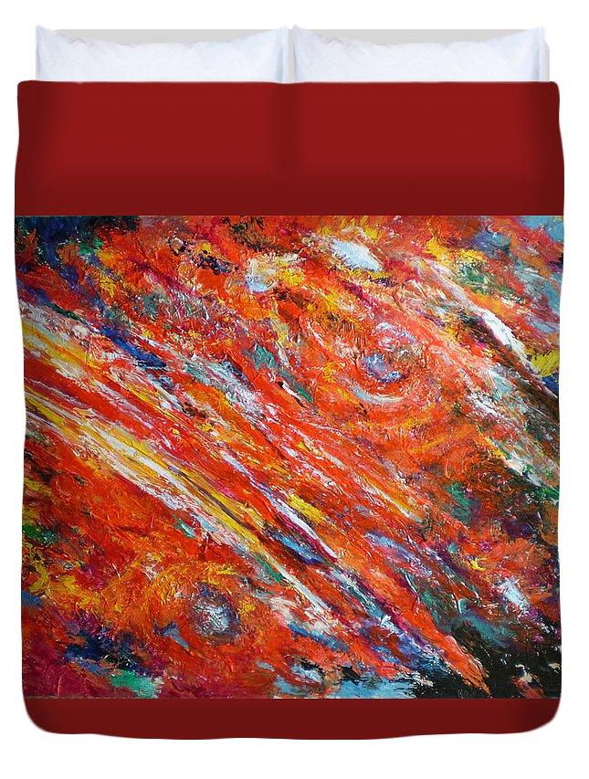 Abstract Duvet Cover featuring the painting Loves Fire by Michael Durst