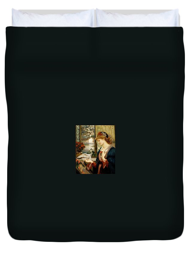 Pre-raphaelite Duvet Cover featuring the painting Loves Messenger by Philip Ralley