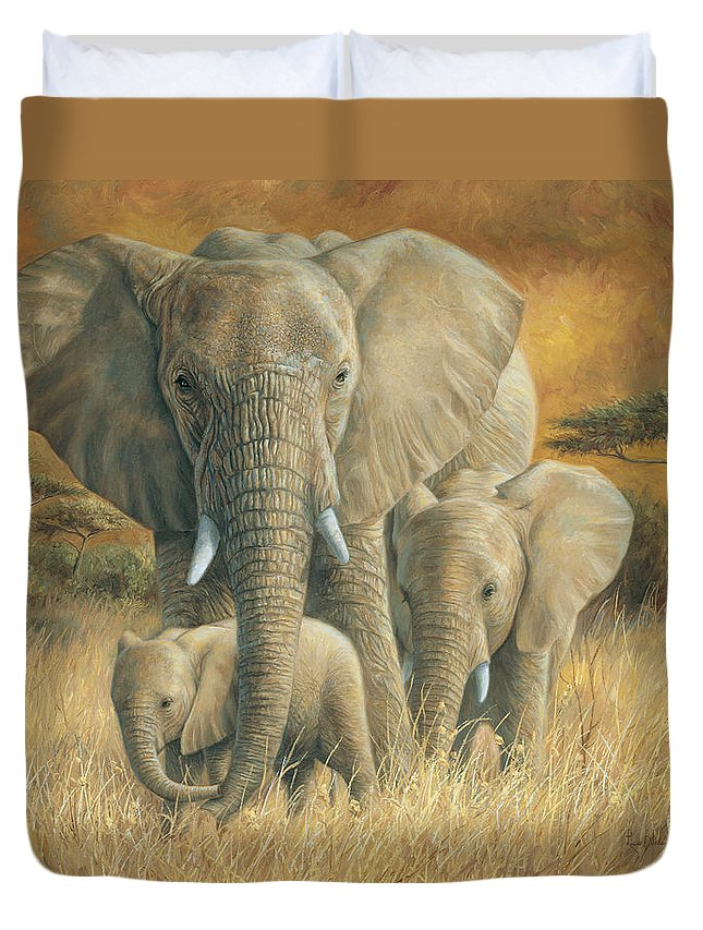 Elephant Duvet Cover featuring the painting Loving Mother by Lucie Bilodeau
