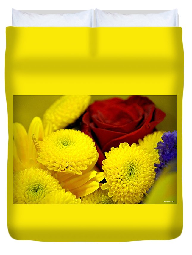 Loving Yellow Duvet Cover featuring the photograph Loving Yellow by Maria Urso