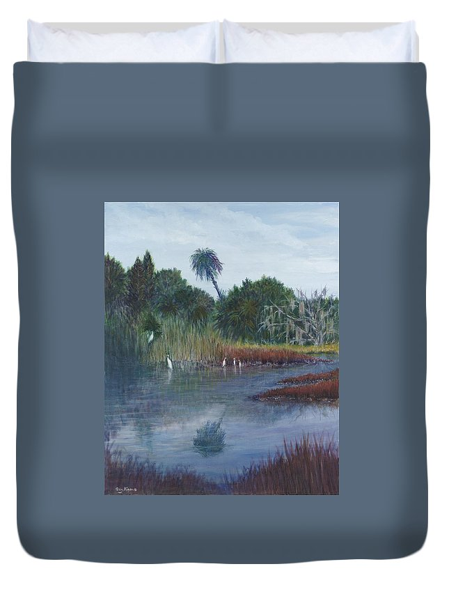 Landscape Duvet Cover featuring the painting Low Country Social by Ben Kiger
