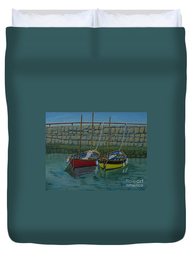 Rock Duvet Cover featuring the painting Low Tide by Anthony Dunphy