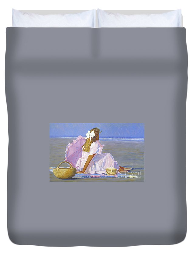Impressionist Duvet Cover featuring the painting Low Tide Lady by Candace Lovely