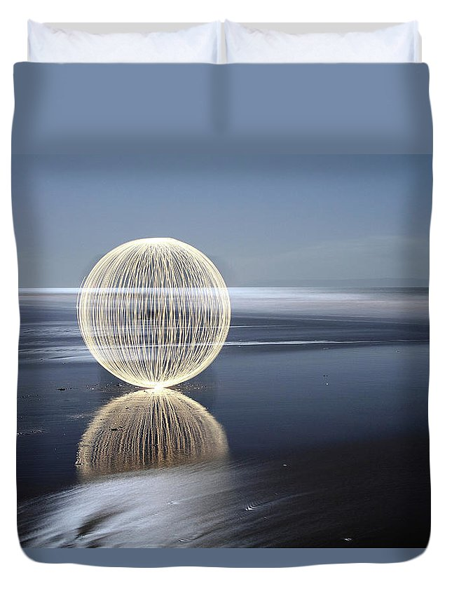Light Painting Duvet Cover featuring the photograph Low Tide Reflection by Andrew John Wells