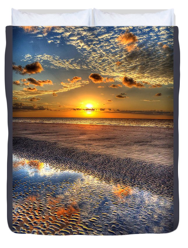 Jekyll Island Duvet Cover featuring the photograph Low Tide Sunrise On Jekyll Island by Greg and Chrystal Mimbs