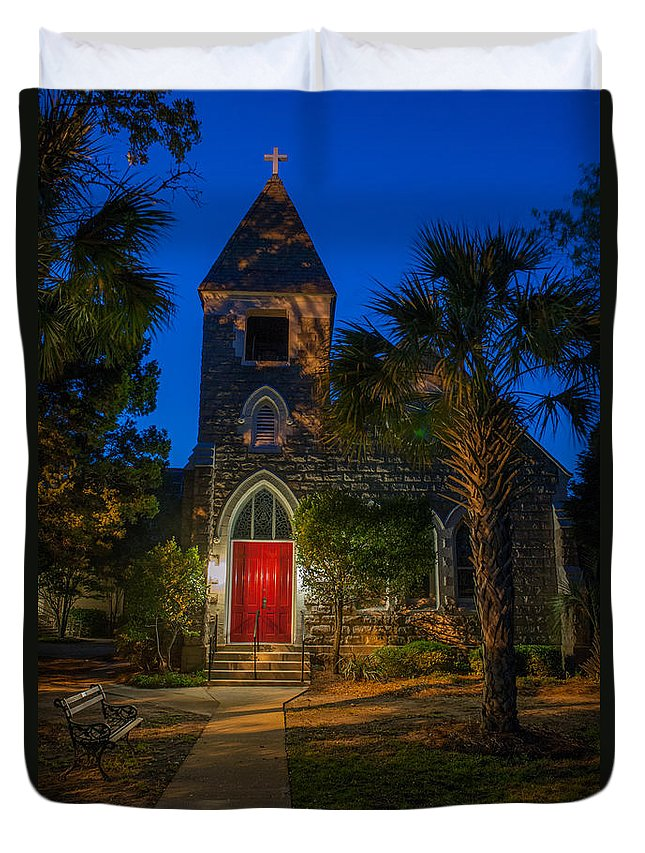 Lowcountry Duvet Cover featuring the photograph Lowcountry Church by Dale Powell