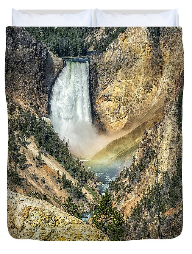 Waterfalls Duvet Cover featuring the photograph Lower Falls by Claudia Kuhn