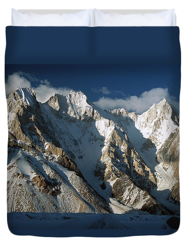 00260187 Duvet Cover featuring the photograph Lower Gasherbrum Peaks by Colin Monteath