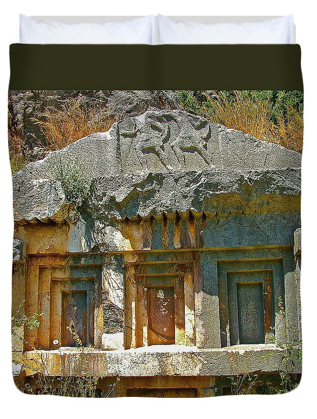 Lower-level Tomb In Myra Duvet Cover featuring the photograph Lower-level Tomb In Myra-turkey by Ruth Hager