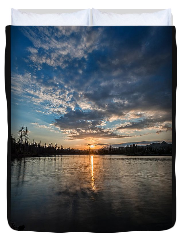 Lower Duvet Cover featuring the photograph Lower Sunset Lake by Dianne Phelps