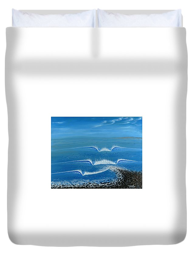 Trestles Framed Prints Duvet Cover featuring the painting Lower Trestles by Paul Carter