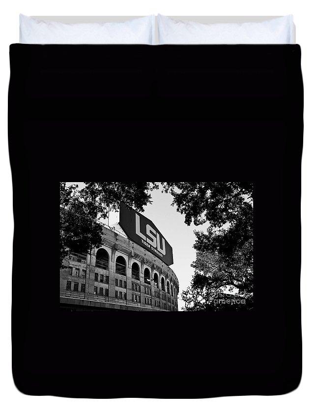 Black&white Duvet Cover featuring the photograph LSU Through the Oaks by Scott Pellegrin